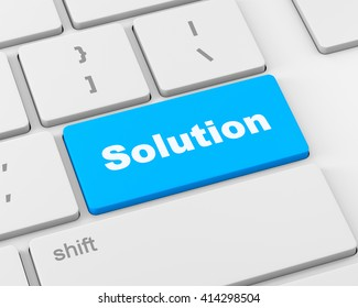 solving a problem with solution button on computer, 3d rendering