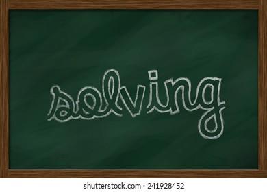 solving word written on chalkboard