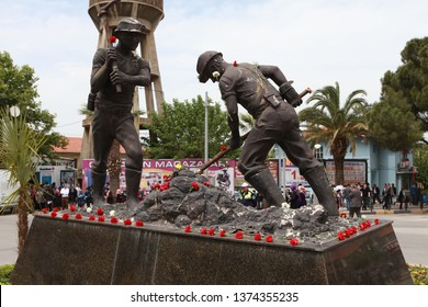 SOMA, TURKEY-MAY 14, 2014: Turkey coal mine explosion at Soma in Manisa. 301 pitman was died. The miner's monument was covered with carnations. The mine was exploded on May 13, 2014.