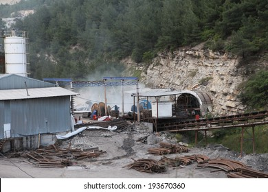 SOMA, TURKEY-MAY 14, 2014: Turkey coal mine explosion at Soma in Manisa.   301 pitman was died. View of the Soma mine. The mine was exploded on May 13, 2014.