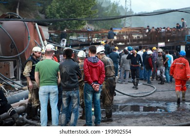 SOMA, TURKEY-MAY 14, 2014: Turkey coal mine explosion at Soma in Manisa. 301 pitman was died. View of the area of Soma mine. The mine was exploded on May 13, 2014.