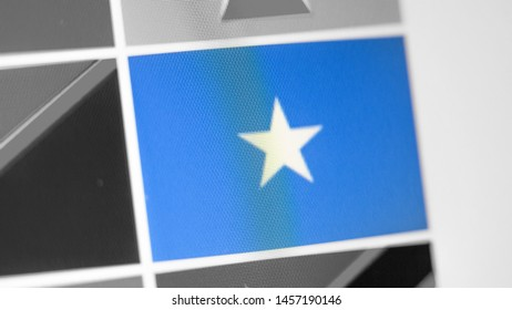 Somali national flag of country. Somali flag on the display, a digital moire effect. News of geography and geopolitics