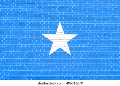 Somali national official flag. African patriotic symbol, banner, element, background. Flag of Somalia on brick wall texture background
