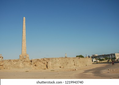 Somalia in Africa. Obelisk damaged during the war. Obelisk in different parts of the world. Somalia in Africa. 2 May 2013