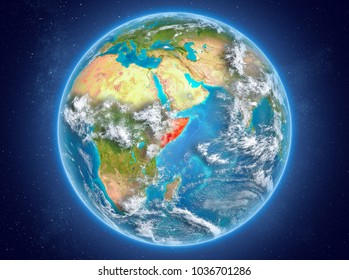 Somalia in red on model of planet Earth with clouds and atmosphere in space. 3D illustration. Elements of this image furnished by NASA.