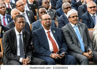 Somalia's President Mohamed Abdullahi Mohamed (R), Sudan's President Omar Hassan Ahmad al-Bashir(C) and President of Zambia Edgar Chagwa Lungu (L)during Erdogan`s Inauguration.Ankara, Turkey, 09-07-18