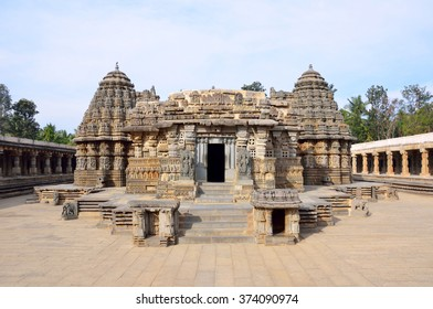 SOMANATHAPUR, INDIA - FEBRUARY 1 2016: Keshava temple was built in 1268 under Hoysala Empire King Narasimha III and it is one of most complete examples of Hoysala architecture.