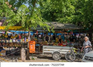 Sombor, Serbia July 14, 2017 : market in the center in Sombor