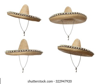 Sombrero Hat - 4 views, isolated on a white background.