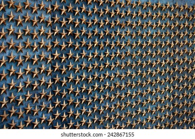 Some of the 4,000 gold stars on the Freedom Wall of the World War II Memorial in Washington, DC  which commemorate 400,000+ Americans who gave their lives during the war.