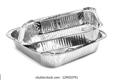 some aluminium foil trays on a white background