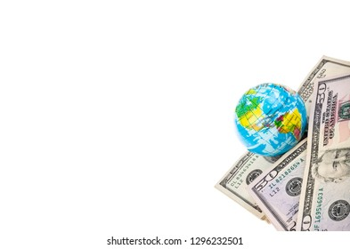 Some American Dollars and globe isolated on white with copy space
