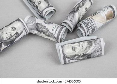 Some American Dollars on grey background