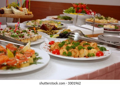 some appetizing food from banquet table