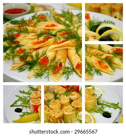 some appetizing food collage