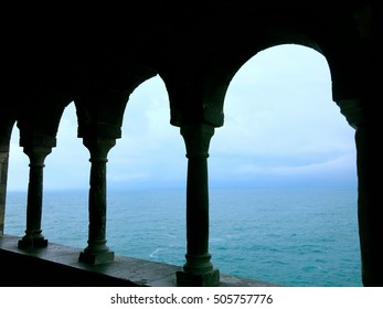 some arches with view on the sea