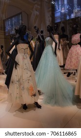 Some ball gowns exhibited in Paris at Musee des Arts Decoratifs where the haute couture exhibition `Christian Dior: Designer of Dreams` is presented. The exhibition will last until 7th January 2018.