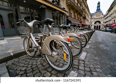 Some bicycles of the Velib bike rental service in Paris. With the bicing sharing service people can rent bicycles for short trips