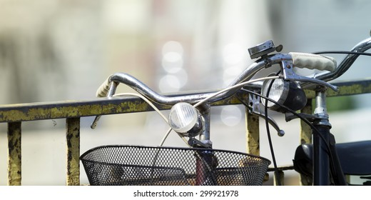 Some bikes in the city, detail photo