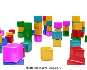 some blocks partly stacked together