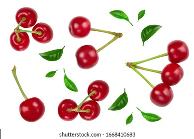 Some cherries with leaf closeup isolated on white background. Top view. Flat lay.