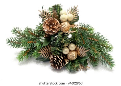 some christmas decoration over a white background