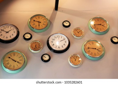 some clocks on wall