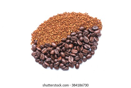Some coffee beans and coffee grain on white background (shape coffee  bean)