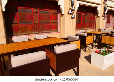 Some coffee chairs and tables in the historic part of Diriyah in Saudi Arabia