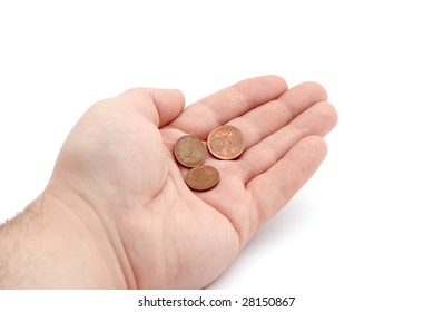 Some coins in a palm on white background