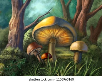 Some colorful mushrooms in a small wood clearing. Digital illustration.