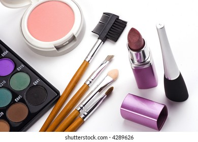 Some cosmetic accessories in white isolated background.