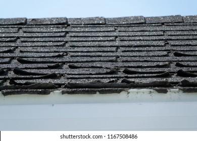 Some damaged black roof shingles
