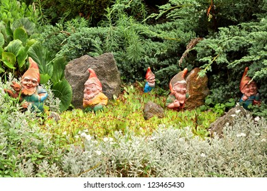 Some decorative gnomes, decorating a yard