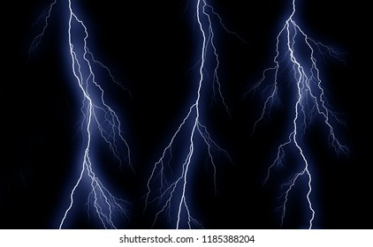 Some different lightning bolts isolated on black