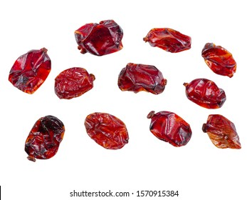 Some dried cranberries isolated on white background with copy space for text or images. Food, cooking, packaging concept. Close-up.