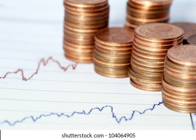 Some euro coins on a financial chart