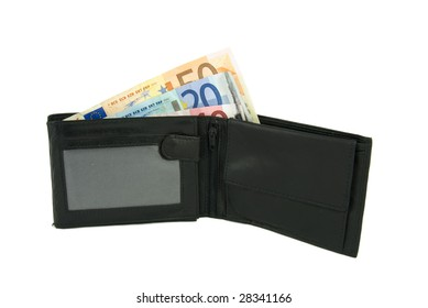 Some Euro notes in open black wallet isolated on white background