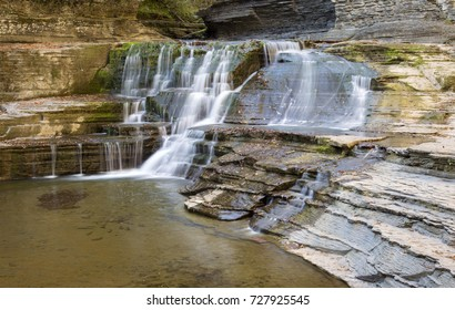Some fall colors at the Falls by the Old Mill (above Lucifer Falls) at  State Park in Ithaca, New York (Finger Lakes region).