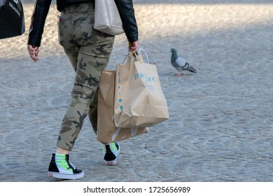 Some Fashion Shops Are Open Again And People Start Shopping Again During The Corona Outbreak At Amsterdam The Netherlands 2020