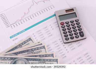 Some financial things - calculator, money, digits, charts