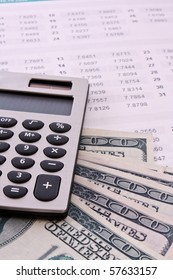 Some financial things - calculator, money, digits