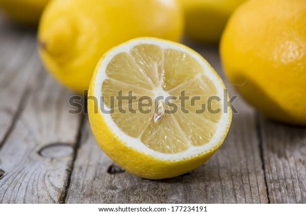 Some fresh Lemon Fruits on wood