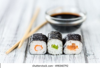 Some fresh made Sushi (detailed close-up shot; selective focus)
