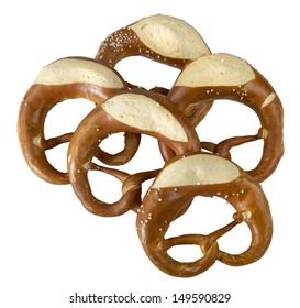 some german baked bread products named pretzel in white back