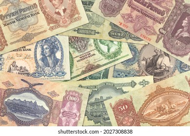 some historic hungarian pengoe banknotes mixed