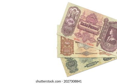 some historic hungarian pengoe banknotes with copy space to the left