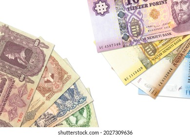 some historic hungarian pengoe and new forint banknotes with copy space