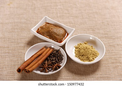 Some ingredients and spices of curry paste