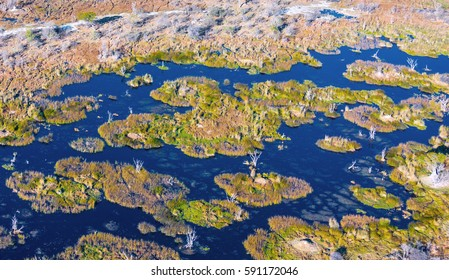 Some islands of vegetation in the marshes. Okavango delta (Okavango Grassland) is one of the Seven Natural Wonders of Africa (view from the airplane) - Botswana, South-Western Africa